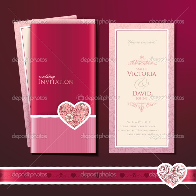 Wedding Invitation Card With Rings Free Vector