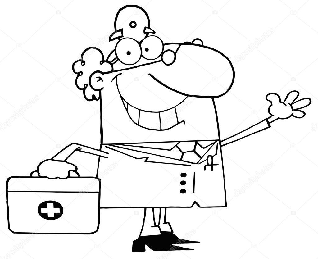 Outlined Waving Male Doctor With A First Aid Kit