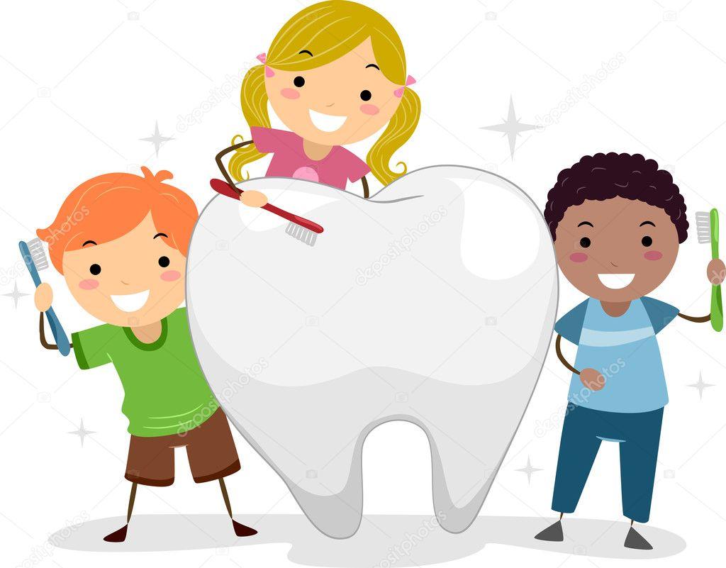 Kids Brushing A Tooth