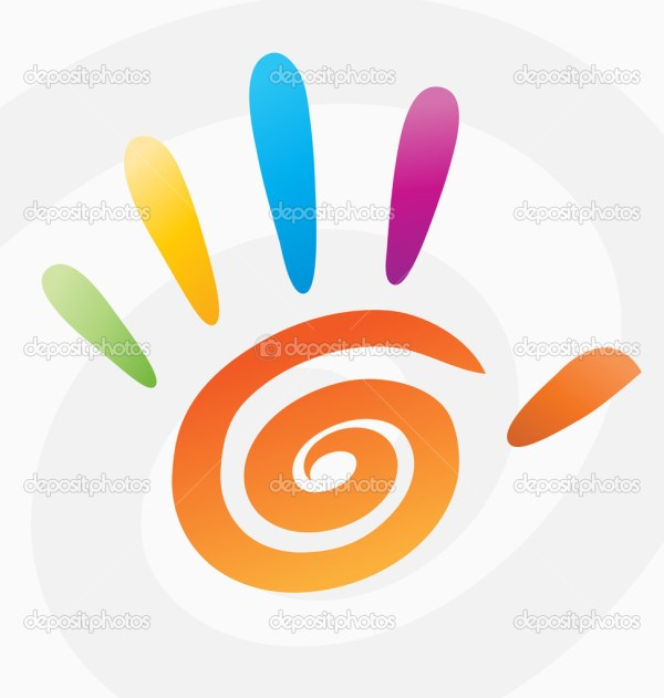 Abstract vector colored spiral hand with fingers. — Stock ...