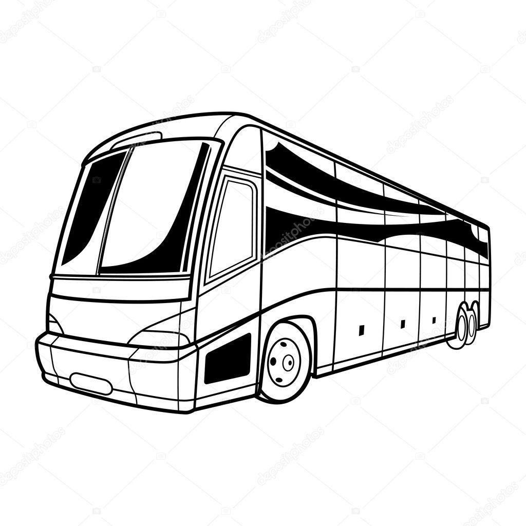 Viajar De Carro De Onibus Grande Vetor Preto E Branco De