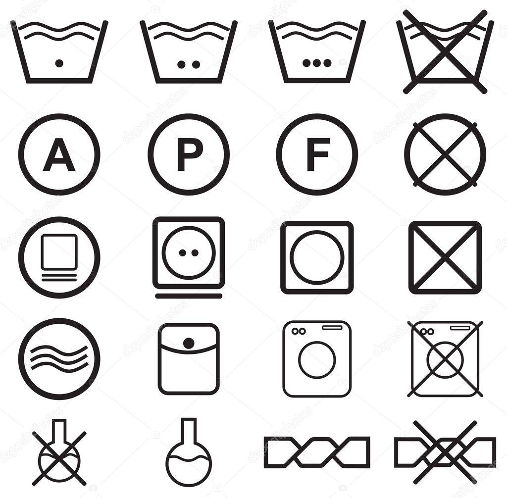 Set Of Washing Symbols