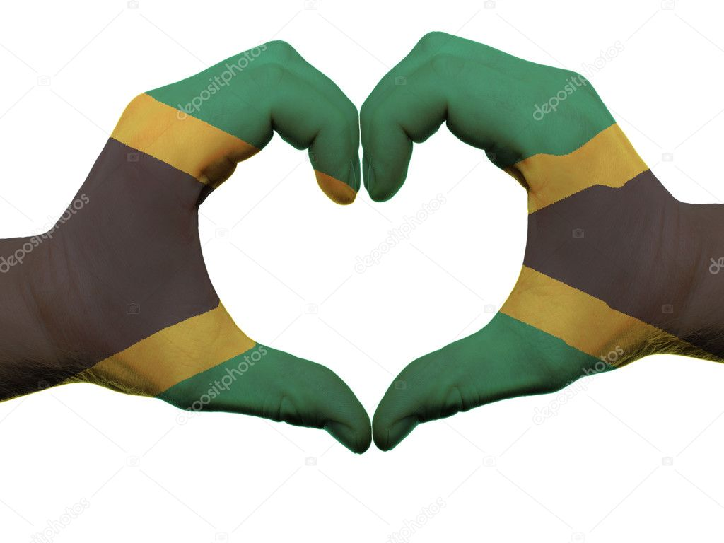 Heart And Love Gesture In Jamaica Flag Colors By Hands