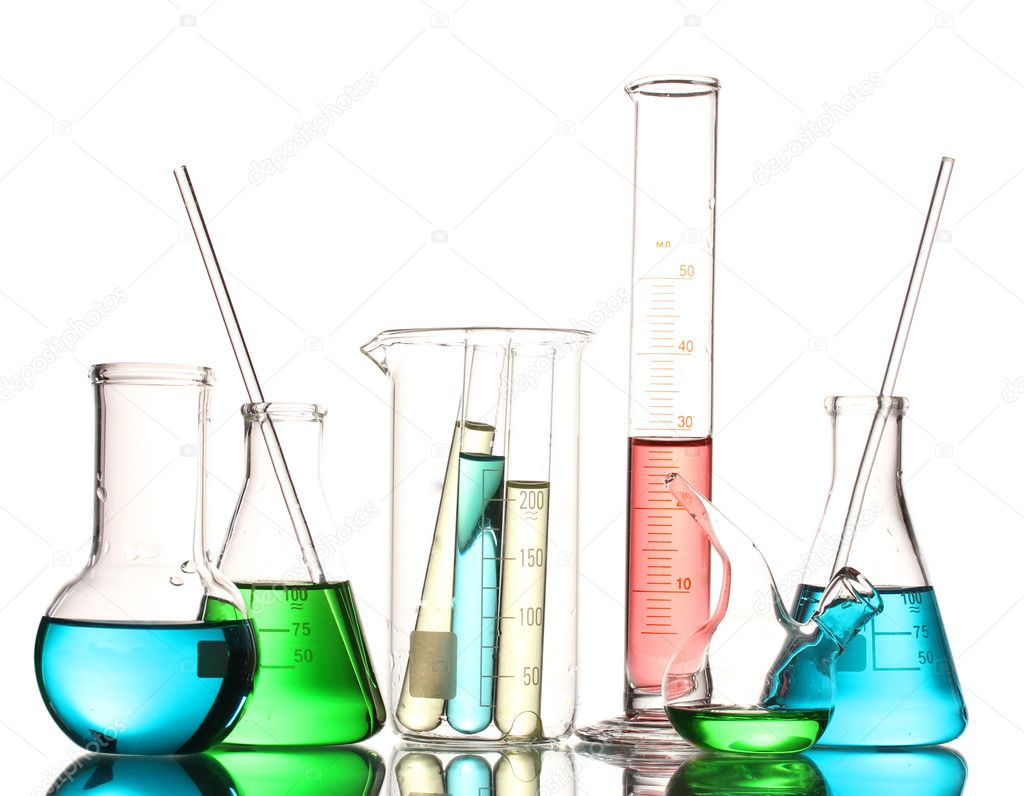 Different Laboratory Glassware With Color Liquid And With Reflection Isolat