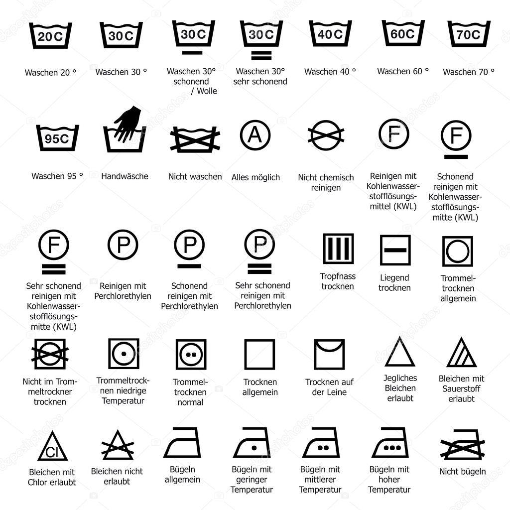 Textile Care Symbols Washing Dry Cleaning Smoothing Wash