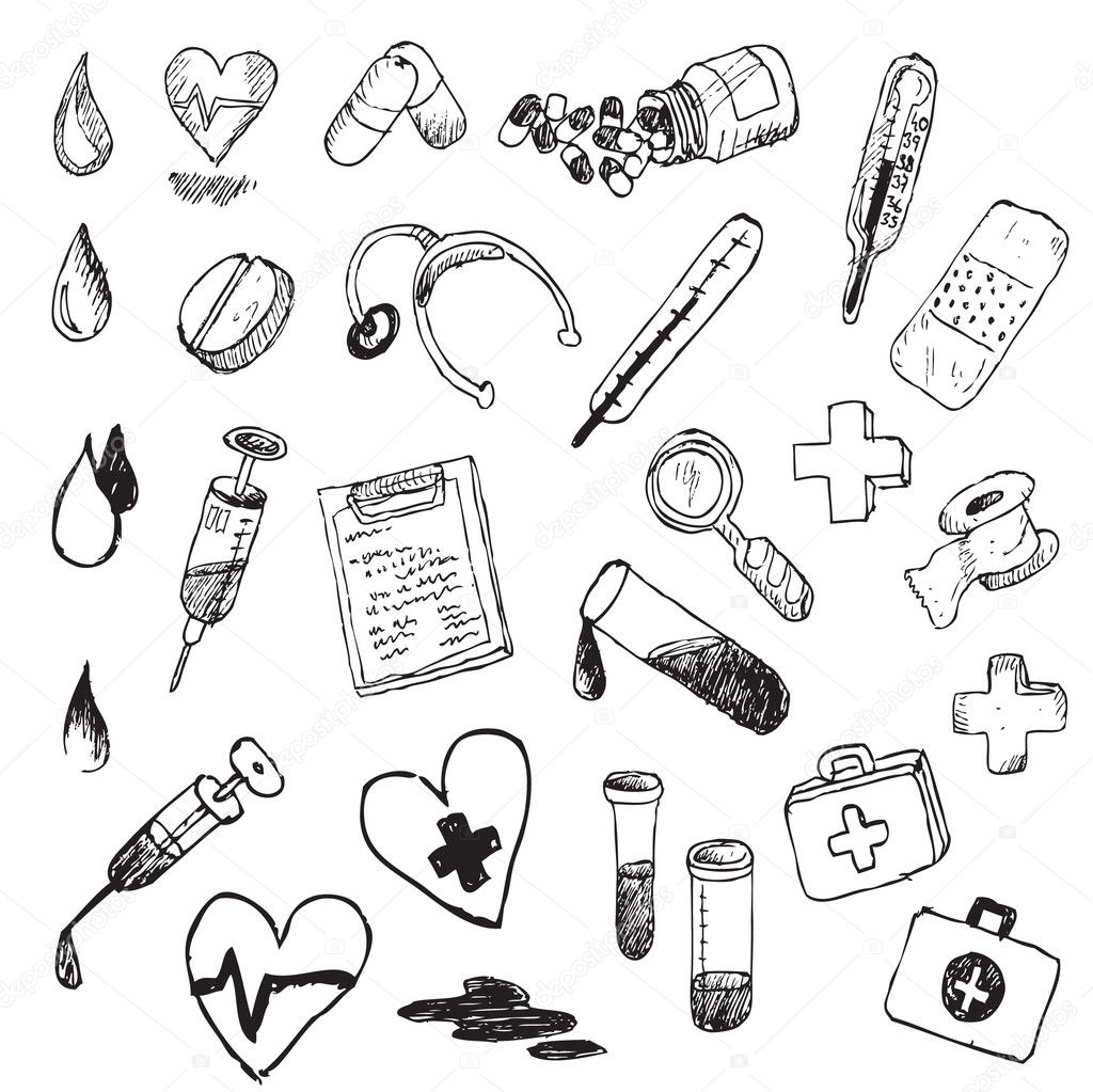 Medical Hand Draw Element Vector