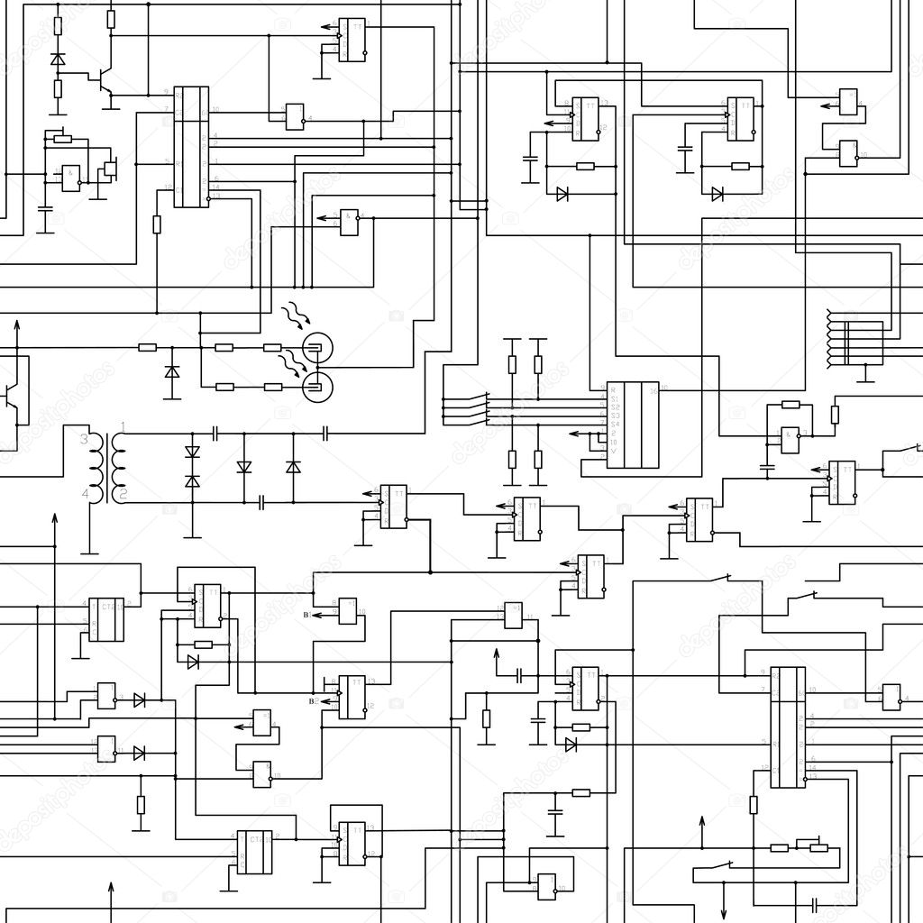 Seamless Electrical Circuit Diagram Pattern