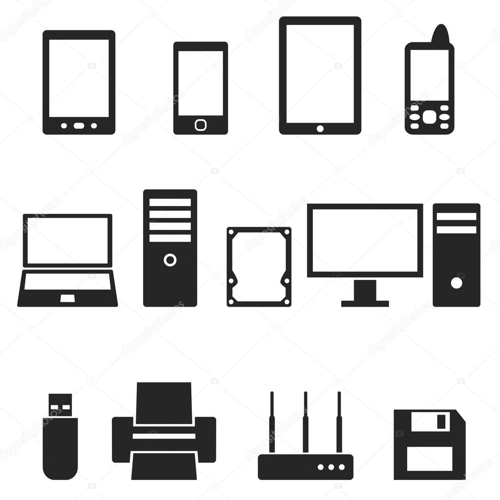 Icons Of Computer Hardware And Gadgets In The Vector
