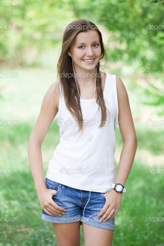 Beautiful teen girl in the park with headphones. — Stock ... on Beautiful Teen Girl  id=77663