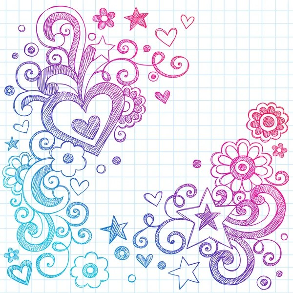 Heart Love Sketchy Doodle Swirls Valentines Day Vector