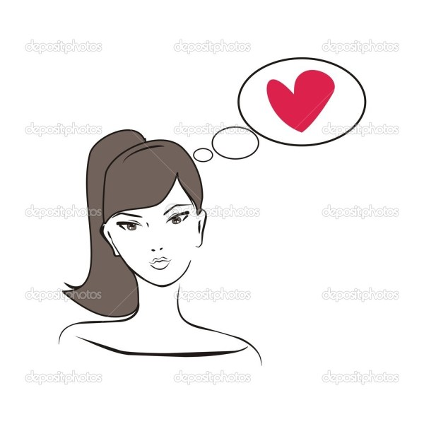 Beautiful girl thinking about love - vector glamour ...