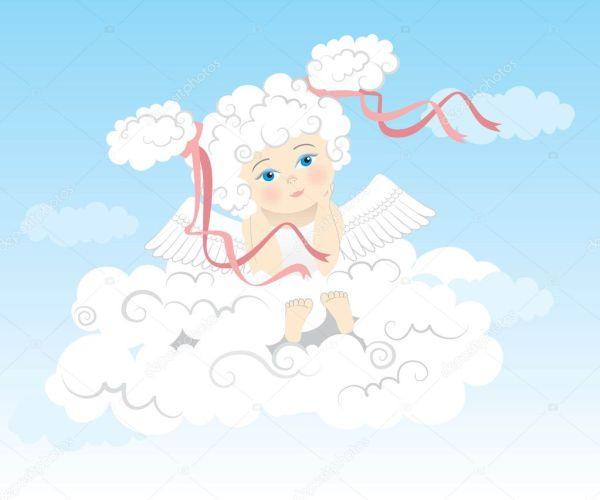 Мечтая ангелочек на облаке — Векторное изображение ...
