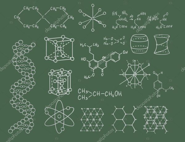 Physics and chemistry on green blackboard vector set