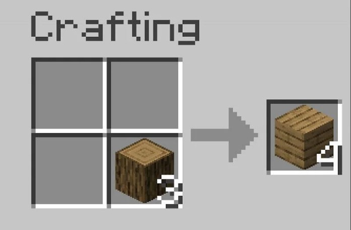 To make wooden planks place the logs that were collected into one of the slots in crafting table
