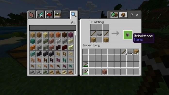 Crafting Grindstone in Minecraft