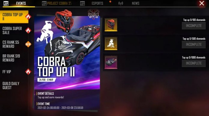 Cobra Top Up II event in Free Fire