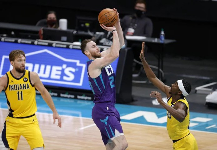 Gordon Hayward # 20 of the Charlotte Hornets attempted a shot.