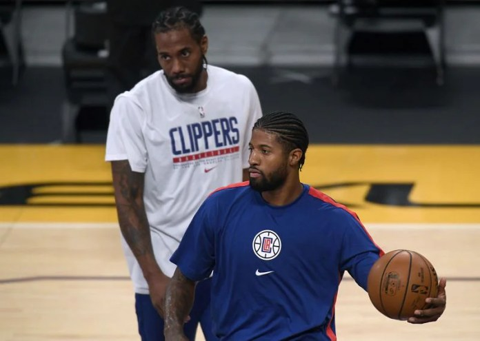 Paul George #13 and Kawhi Leonard #2 of the LA Clippers