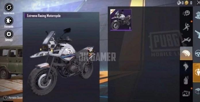 Extreme Racing Motorcycle (Image via JK Gamer - PUBG Mobile Lite / YouTube)