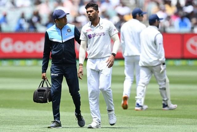 Umesh Yadav walks off the MCG after sustaining a calf muslce injury last December