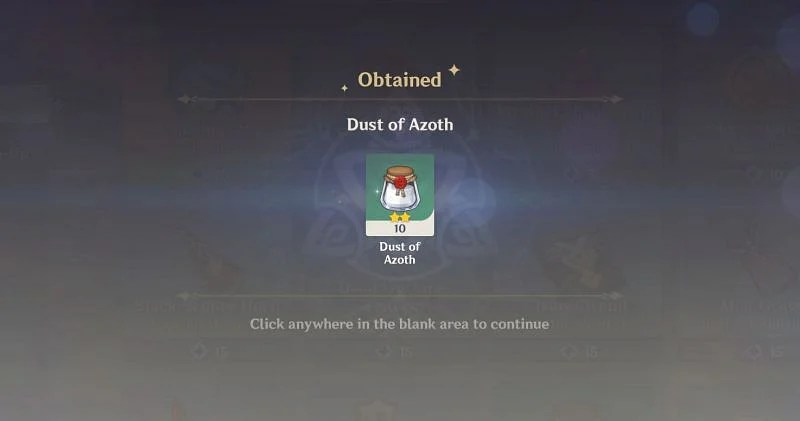 What is the use of the Dust of Azoth in Genshin Impact?