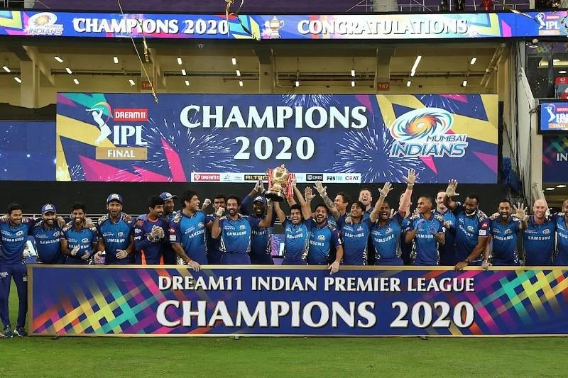 The Mumbai Indians lifted their record fifth IPL trophy in Dubai last year [Credits: IPL]