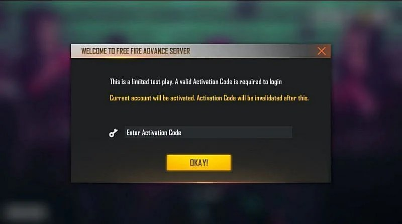 A dialog box asking for the Activation Code will appear on your screens. (Image via Free Fire)