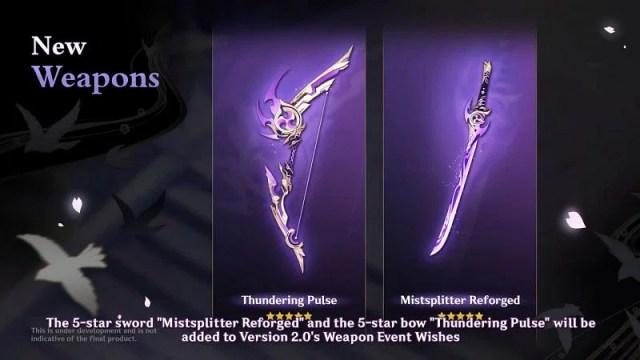 New 5-star weapons (image via miHoYo)