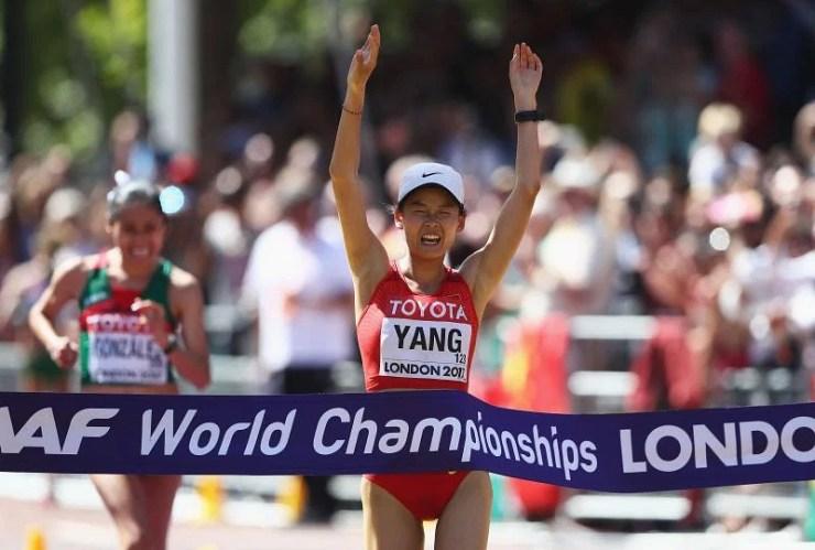 Yang Jiayu celebrates after winning the women