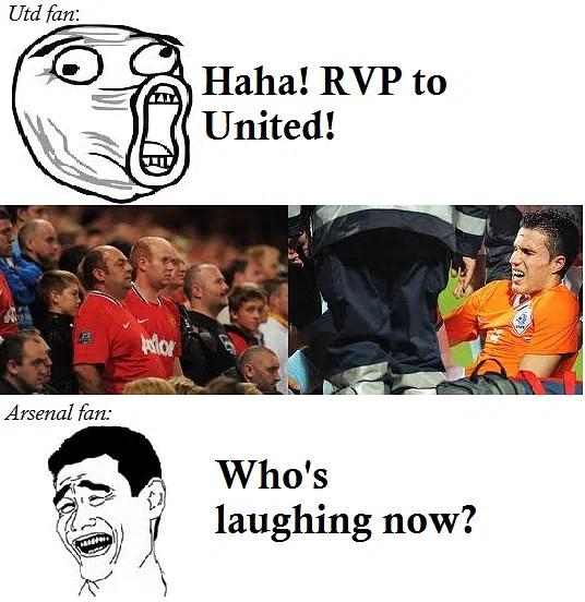 comic arsenal fans troll united fans