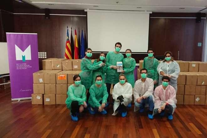 Equipos EPI enviados desde el COF de Valencia a sus colegiados
