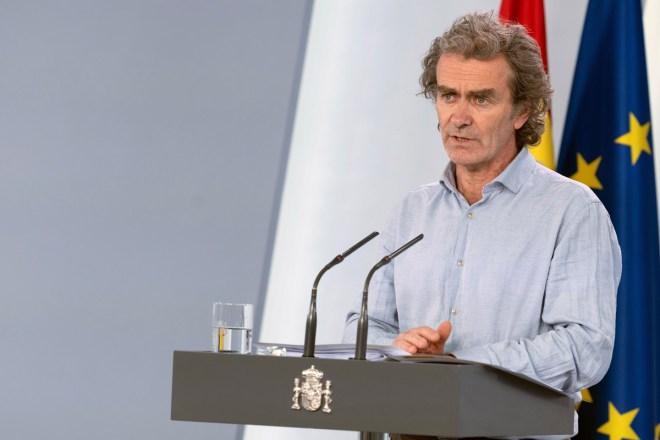 Fernando Simón, director del Centro de Alertas y Emergencias Sanitarias del Ministerio de Sanidad, durante la rueda de prensa diaria.