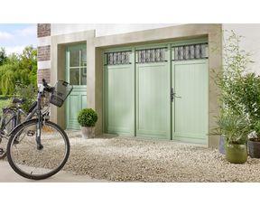 porte de garage louveciennes pliante bois exotique sans grille