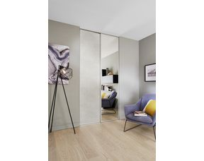 Porte De Placard Coulissante Glisseo Decor Miroir Argent Profil Laque Blanc Rangements