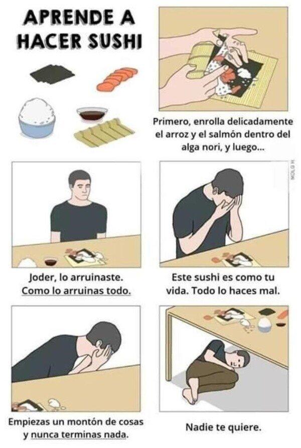 Aprendiendo a montar sushi