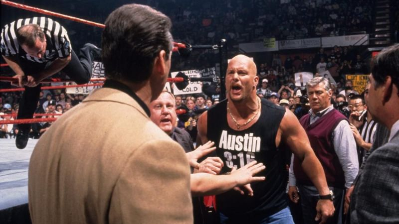 Stone Cold shouting at Vince McMahon