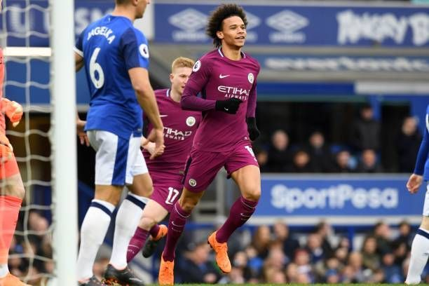 Manchester City's Leroy Sane celebrates his goal against Everton in Premier League 2017/18