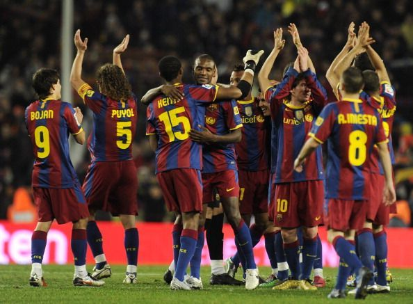 Barcelona's players celebrate their vict