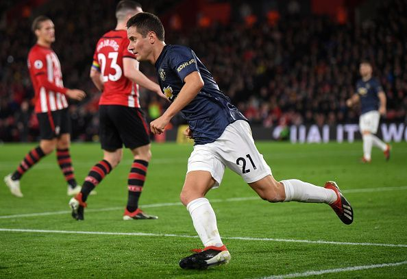 Herrera celebrates his equaliser during a frenetic affair on the south Coast