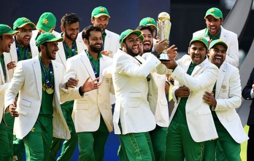 Pakistan team after winning the ICC Champions Trophy