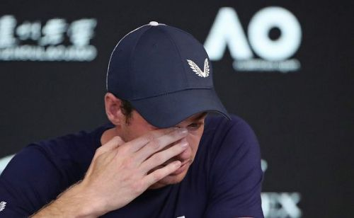 A teary-eyed Andy Murray during his press conference
