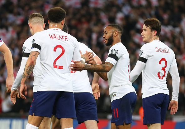 Sterling and co celebrate one of England's five goals vs. Czech Republic in their EURO 2020 Qualifier