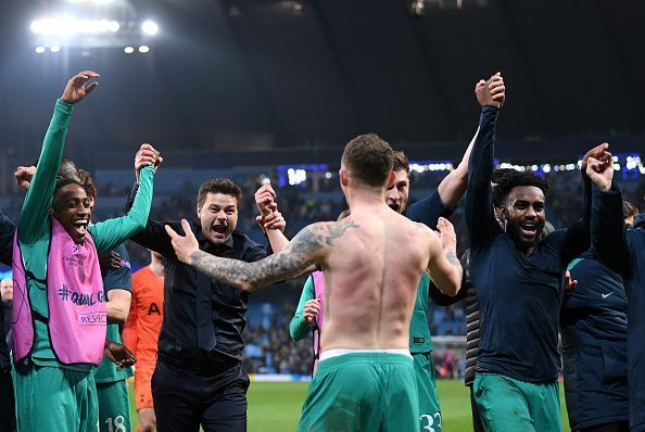 Tottenham boss Pochettino celebrates with his players after their dramatic win via away goal rule
