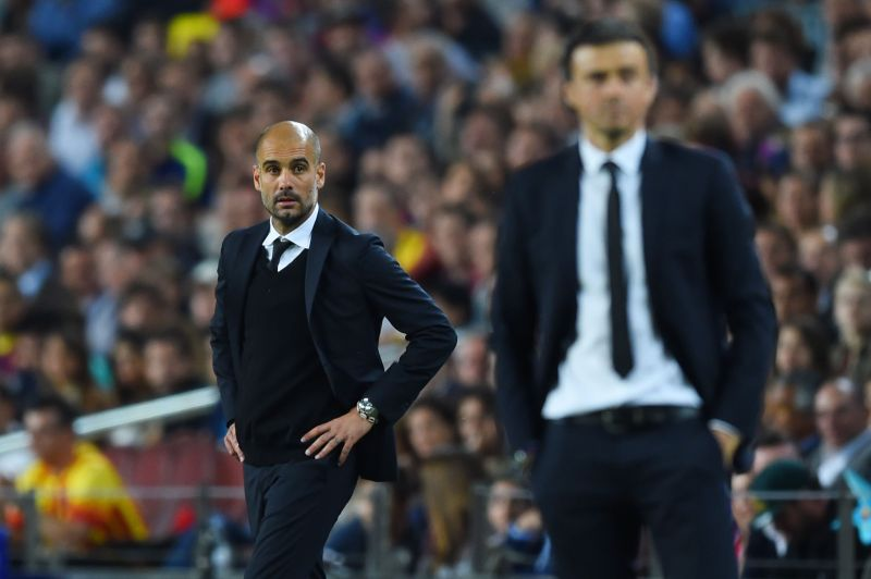 The last time Barcelona met Bayern Munich in 2015,Pep Guardiola (left) was the manager of the Bavarian giants.