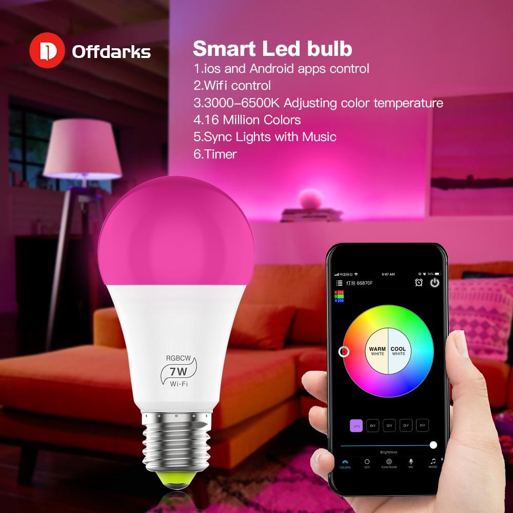 Smart Led Light Bulb Wifi Mobile App Control E27 Voice Control 2 4ghz Static S Gadgets