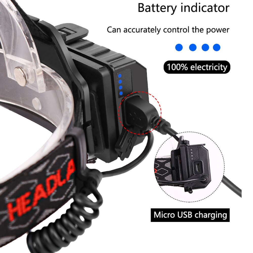 Headlamp Flashlight Charger Wire Computer USB Head Torch Charging Cable