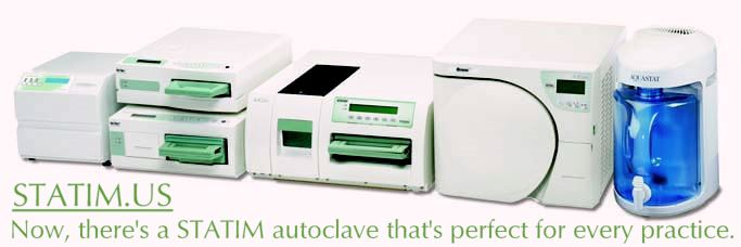 Click here for detailed information about the SciCan STATIM family of autoclave sterilizers. Be sure to read the articles and the Frequently Asked Questions section.