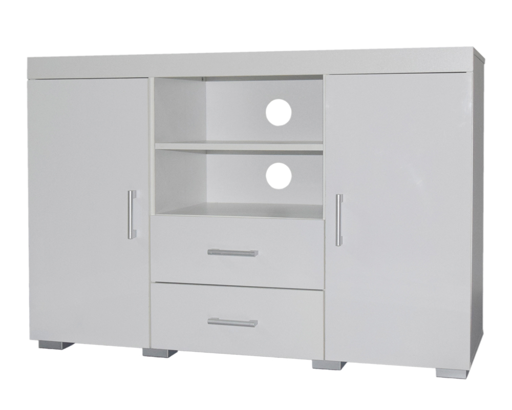 White Tall TV Stand Cabinet Entertainment Centre Sideboard