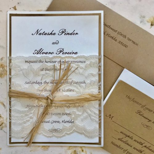 Vintage Lace Wrapped Invitation