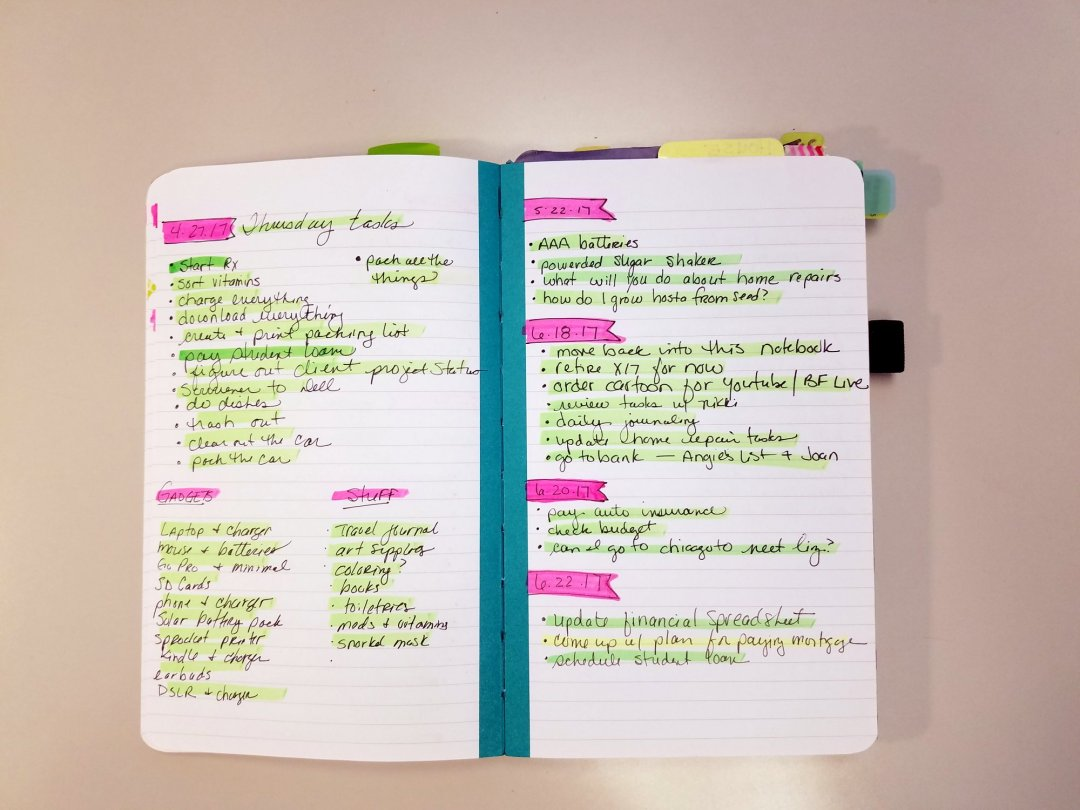 Notebook with lists